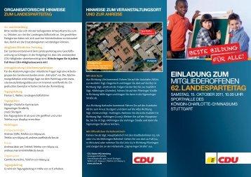 einladung zum mitgliederoffenen 62.landesparteitag - CDU Baden ...