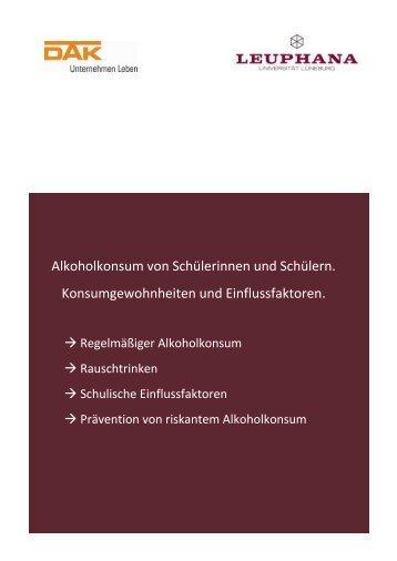 Alkoholkonsum von Schülerinnen und Schülern - DAK