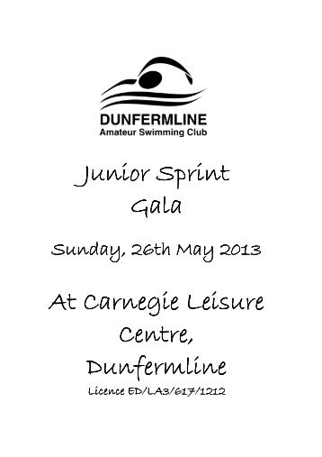Dunferline Junior Sprint Gala - Swim Scotland