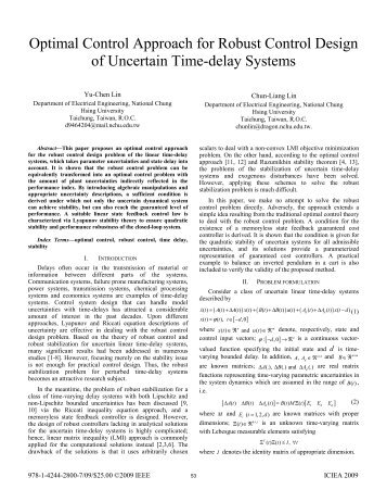robust control and h infinity optimization tutorial In control theory, robust control is an approach to controller that interprets robust control within the so-called scenario optimization h-infinity control.