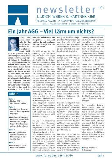 Ein Jahr AGG – Viel Lärm um nichts? - Ulrich Weber & Partner GbR