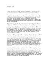 Letter from Pilar Moffitt - Voices of September 11th