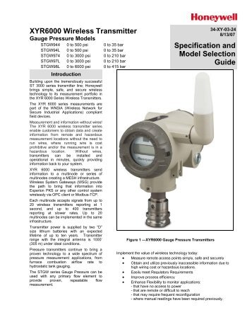 XYR6000 Gauge Pressure Spec - Honeywell