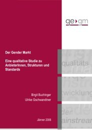 Der Gender Markt - Qualitätsentwicklung Gender  Mainstreaming