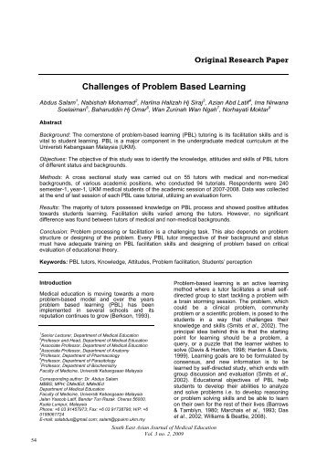 Challenges of Problem Based Learning - South East Asian Journal ...