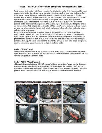 """""""RESET"""" das UCES dos veículos equipados com sistema fiat code"""