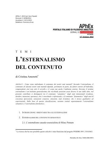 L'ESTERNALISMO DEL CONTENUTO - APhEx.it