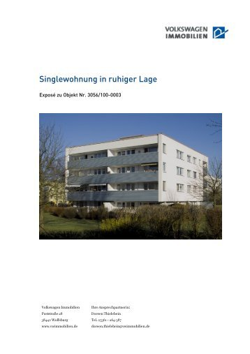 Singlewohnung in ruhiger Lage - VW Immobilien