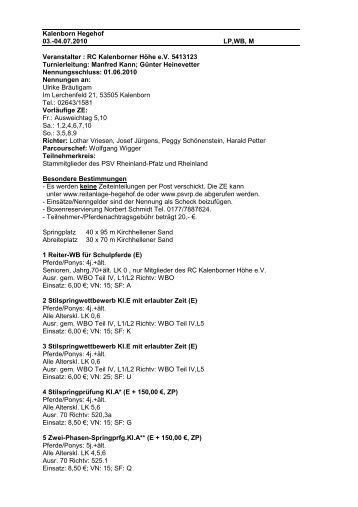 Ausschreibung Turnier 03.07. - 04.07.2010 - Reitanlage-hegehof.de