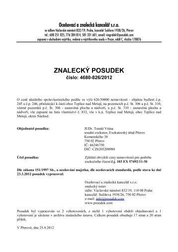 ZNALECKÝ POSUDEK číslo: 4680-826/2012 - e-aukce