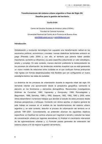 Transformaciones del sistema urbano argentino a fines del Siglo XX ...
