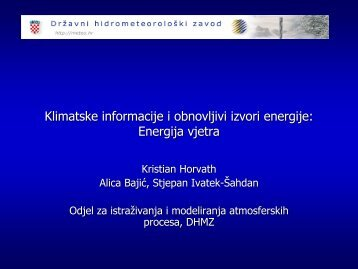 Klimatske informacije i obnovljivi izvori energije: Energija vjetra