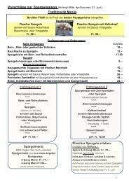 Saisonale Menüvorschläge - Restaurant Sternen Flaach