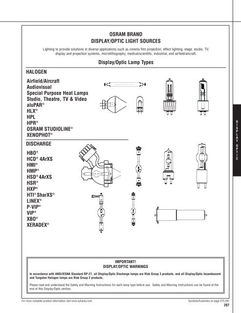 Osi Lamp And Ballast Catalog Osram Sylvania