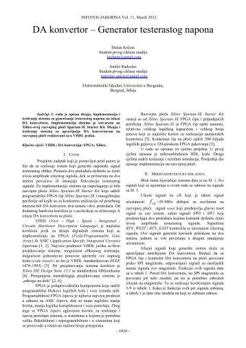 DA konvertor – Generator testerastog napona - Infoteh