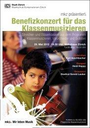 Benefizkonzert für das Klassenmusizieren - Schule Aussersihl