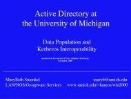 U-M Active Directory: Data Population and Kerberos Interoperability