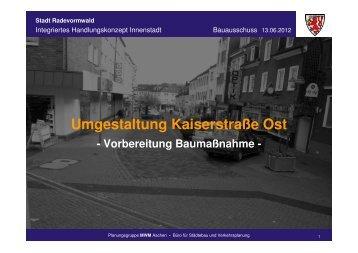 Umgestaltung Kaiserstraße Ost - Stadt Radevormwald