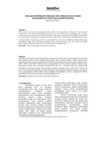 pengaruh temperatur terhadap sifat mekanis pada ... - jurnalsmartek