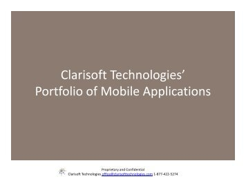 Clarisoft Technologies' Portfolio of Mobile Applications