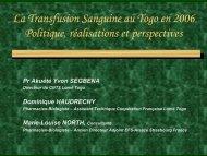La Transfusion Sanguine au Togo en 2006 Politique ... - ReMeD