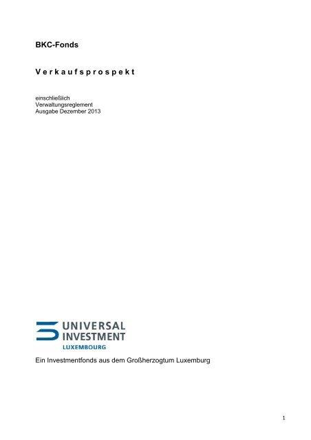 Verkaufsprospekt - Universal-Investment