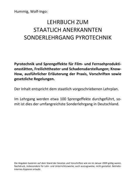 Lehrbuch zum Sonderlehrgang Pyrotechnik - Pyrotechnikerschule ...