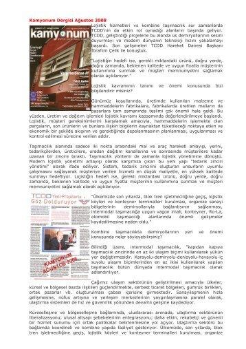 Kamyonum Dergisi Ağustos 2008 Lojistik hizmetleri vs ... - Tcdd