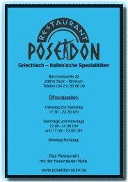Griechisch – Italienische Spezialitäten - Restaurant Poseidon