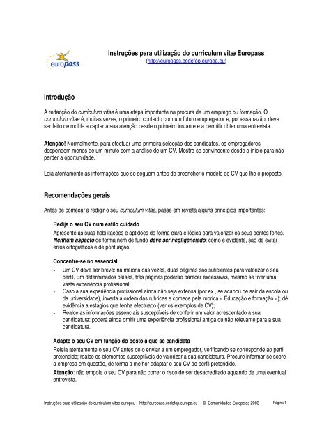 estrutura do curriculum vitae europass