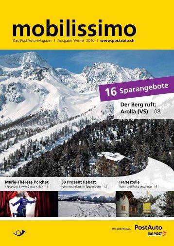 mobilissimo, Das PostAuto-Magazin, Ausgabe Winter 2010