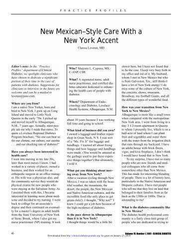 New Mexican–Style Care With a New York Accent - Clinical Diabetes
