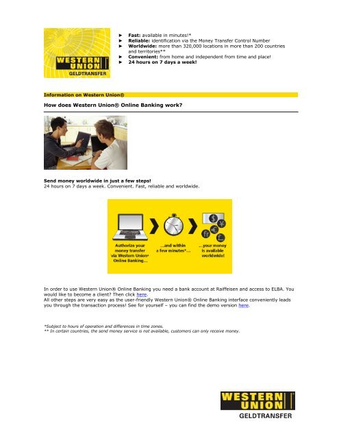 How does Western Union® Online Banking work? - Raiffeisen