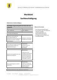 Merkblatt Sachbeschädigung - Bever