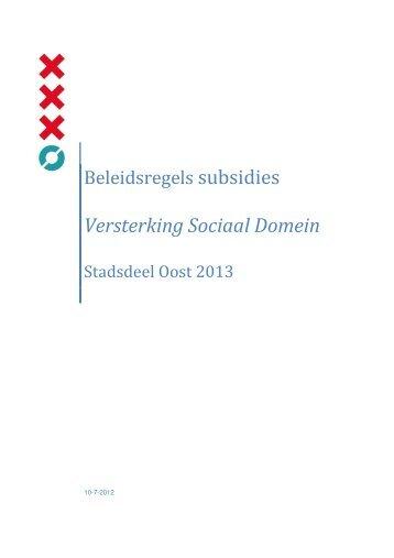 Versterking Sociaal Domein - Stadsdeel Oost - Gemeente Amsterdam