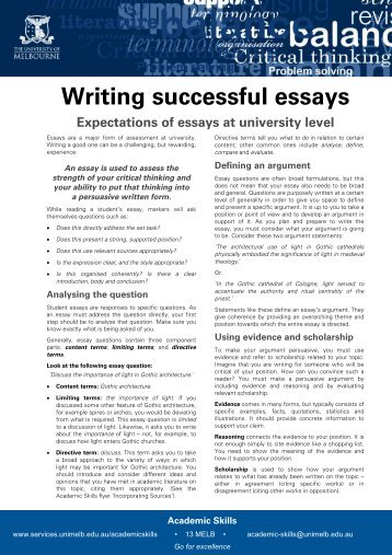 student friendly checklist persuasive writing  writing successful essays student services