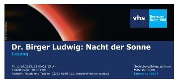 Dr. Birger Ludwig: Nacht der Sonne - VHS Ennepe-Ruhr-Süd
