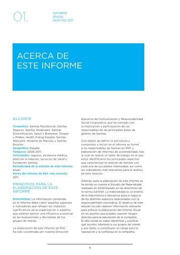 ACerCA de este Informe - Informe Anual 2011 - Sanitas