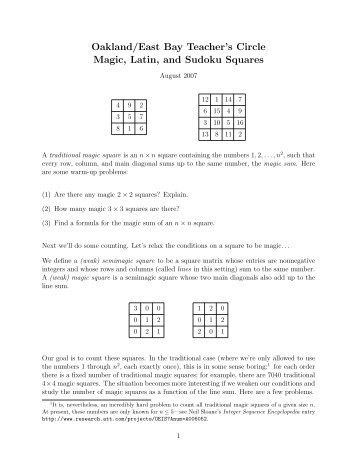 Magic, Latin, and Sudoku Squares - Math Teachers' Circles