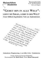 gehet hin in alle welt - Evangelischer Stadtkirchenverband Köln