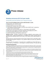 Press release - Investor relations at Amadeus