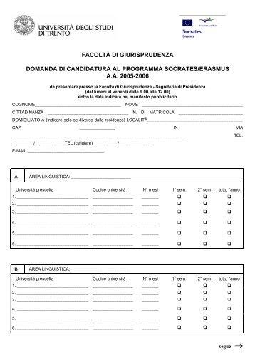 Domanda di Candidatura - Università degli Studi di Trento