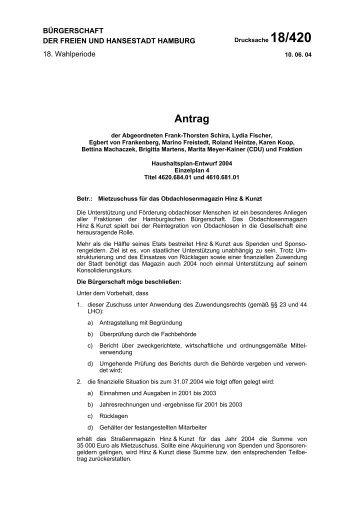 Drucksache 18/420 anzeigen - Heintze, Roland (MdHB)