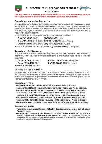 EL DEPORTE EN EL COLEGIO SAN FERNANDO Curso 2010/11 ...