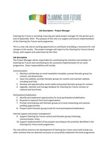 Arts Education Project Manager Job Description  The California
