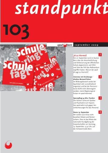 Standpunkt 103, September 2009 - vpod Bern