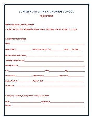 Registration Form - The Highlands School