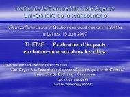 Evaluation d'impacts environnementaux dans les villes - Euromedina