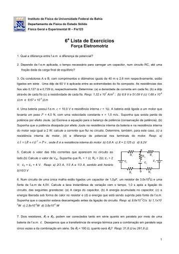 6 a Lista - Instituto de Física da UFBA - Universidade Federal da Bahia