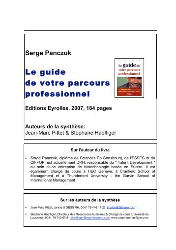 Serge Panczuk - Stéphane Haefliger Sociologue